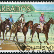 Postage stamps printed in Barbados, is shown Horseback riding, Tourism, circa 1971 - Stock Photo