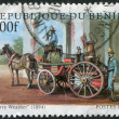 Постер, плакат: Postage stamps printed in Benin shows the old fire truck Mery Weather circa 1998