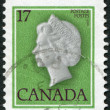 Postage stamps printed in Canada, depicts Queen Elizabeth II, circa 1979 — Stock Photo