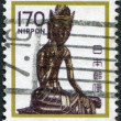 A stamp printed in Japan, shows a bronze statue of Maitreya, Horyuji Temple, circa 1981 — Stock Photo