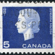 Stock Photo: Postage stamps printed in Canada, depicts Queen Elizabeth II and thesign of wheat , circa1963