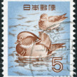 A stamp printed in Japan, depicts Mandarin Duck (Aix galericulata), circa 1955 — Stock Photo