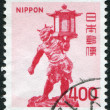 Royalty-Free Stock Photo: A stamp printed in Japan, depicts Tentoki Sculpture, in the golden pavilion Kofuku-ji, 11th Century, circa 1974