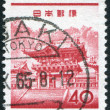 A stamp printed in Japan, shows a gate Yomeimon, Nikko Toshogu Shrine, circa 1962 — Stock Photo #12162754