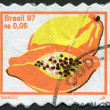 Postage stamps printed in Brazil, depicted papayas, circa 1997 — Stock Photo