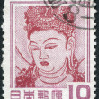 A stamp printed in Japan, depicts Guanyin (God of Mercy) in Horyu-ji Temple, Nara, circa 1952 — Stock Photo