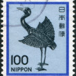 A stamp printed in Japan, depicts a silver statue of a crane, Heian period, circa 1981 — Stock Photo #12162789