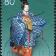 A stamp printed in Japan, the prefecture Fukuoka, depicted Hakata Doll, circa 2000 — Stock Photo