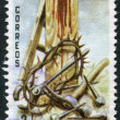 A stamp printed in the Dominican Republic, shows the Crown of Thorns, Tools at the Cross, circa 1978 — Stock Photo