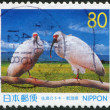 Stock Photo: Stamp printed in Japan, prefecture Niigata, depicted Youyou, Yangyang, couple Crested Ibis in China, circ1999