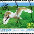 Stock Photo: Stamp printed in Japan, prefecture Niigata, shown latest Crested Ibis (died in 2003), circ1999