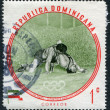 A stamp printed in the Dominican Republic, the Olympic champion Sholam Takhti, Iran, Lightweight Wrestling, circa 1960 - Stock Photo