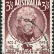 A stamp printed in Australia, shows a 1st Lieutenant Governor of Van Diemen's Land, David Collins, circa 1951 - Stock Photo