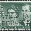 A stamp printed in Australia, is dedicated to Visit of Queen Elizabeth II and the Duke of Edinburgh, circa 1954 - Stock Photo