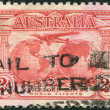 "Stamp printed in Australia, is dedicated to Trans-oceanic flights of Sir Charles Edward Kingsford-Smith, depicts ""Southern Cross"" — Stock Photo #12163099"
