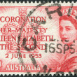Stock Photo: Stamp printed in Australia, is dedicated to coronation of Elizabeth II, circ1953