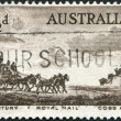 Stock Photo: Stamp printed in Australia, is devoted to Pioneers of Australia's coaching era, depicted Cobb and Company Mail Coach, circ1955
