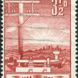 A stamp printed in Australia, is dedicated to Inauguration of the telegraph in Australia, shows a Telegraph Pole and Key, circa 1954 - Stock Photo