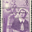 A stamp printed in Australia, shows Florence Nightingale and Modern Nurse, circa 1955 - Stock Photo