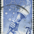 A stamp printed in Australia, is devoted to the Summer Olympics in Melbourne, shows Southern Cross, Olympic Torch, circa 1956 — Stock Photo #12163124