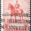 "A stamp printed in Australia, dedicated to 25th anniversary of the coronation, shows George V on His Charger ""Anzac"", circa 1935 - Stock Photo"