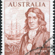 "A stamp printed in Australia, shows William Dampier and ""Roebuck"" sailing ship, circa 1966 — Stock Photo"