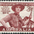 Постер, плакат: A stamp printed in Australia dedicated to Pan Pacific Scout Jamboree Victoria portrayed Scout in Uniform circa 1952