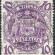 Royalty-Free Stock Photo: A stamp printed in Australia, shows the Arms of Australia, circa 1949