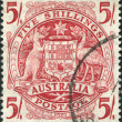 A stamp printed in Australia, shows the Arms of Australia, circa 1949 — Stock Photo