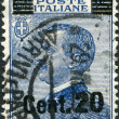 A stamp printed in Italy, shows the King of Italy Victor Emmanuel III (overprint, the new price in 1925), circa 1908 — Stock Photo #12163224