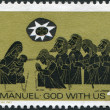 A stamp printed in Australia, is devoted to Christmas, is depicted Adoration of the Shepherds, circa 1966 — Stock Photo