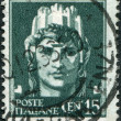 "A stamp printed in Italy, shows the symbol of ""Italia"" (Woman with castle on her head), circa 1929 — Stock Photo"