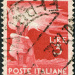 A stamp printed in Italy, shows a Torch, circa 1945 — Stock Photo