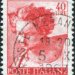 Stock Photo: Stamp printed in Italy, shows Designs from Sistine Chapel by Michelangelo, Daniel, circ1961