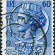 A stamp printed in Italy, is shown Italia Turrita after Syracusean Coin, circa 1955 — Stock Photo