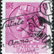 A stamp printed in Italy, is shown Italia Turrita after Syracusean Coin, circa 1968 — Stock Photo