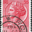 A stamp printed in Italy, is shown Italia Turrita after Syracusean Coin, circa 1956 — Stock Photo