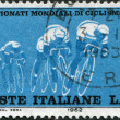 A stamp printed in Italy, dedicated to World Bicycle Championship Races, shows the Group of cyclists, circa 1962 — Stock Photo