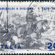 A stamp printed in Italy, shows the Garibaldi at Battle of Dijon, circa 1970 — Stock Photo
