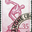 A stamp printed in Italy, devoted to 17th Olympic Games, Rome, depicts Myron's Discobolus, circa 1960 — Stock Photo #12163341