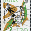 A stamp printed in Italy, shows Skiing, Basketball, Volleyball, circa 1971 — Stock Photo #12163350