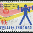 Stock Photo: Stamp printed in Indonesia, dedicated to 14th South-East AsiGames, Djakarta, Weightlifting, circ1987