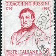 A stamp printed in Italy, the 100th anniversary of the death of Gioacchino Rossini, painting by Giuseppe De Sanctis, circa 1968 - Stock Photo