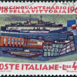 A stamp printed in Italy, is dedicated to the 50th anniversary of victory in World War I, is depicted Battleship Andrea Doria, Destroyer Zeffiro — Stock Photo