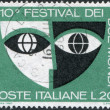 "Stamp printed in Italy, devoted to 10th ""Festival of Two Worlds"", Spoleto, shows Stylized Mask, circ1967 — Stock Photo #12163384"