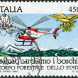 Stamp printed in Italy, is dedicated to Forest Preservation, shows Helicopter fire patrol, circ1984 — Stock Photo #12163401