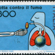 A stamp printed in Italy, is dedicated Anti-smoking Campaign, circa 1982 — Stock Photo