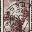 "A stamp printed in Italy, shows the ""Italia"" and Sprouting Oak Stump, circa 1945 — Stock Photo"