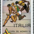 A stamp printed in Italy, is dedicated to the World Championships in Athletics, shows the runners, circa 1981 — Stock Photo