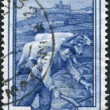 A stamp printed in Italy, shows Plowing, Assisi (Umbria), circa 1950 — Foto de Stock